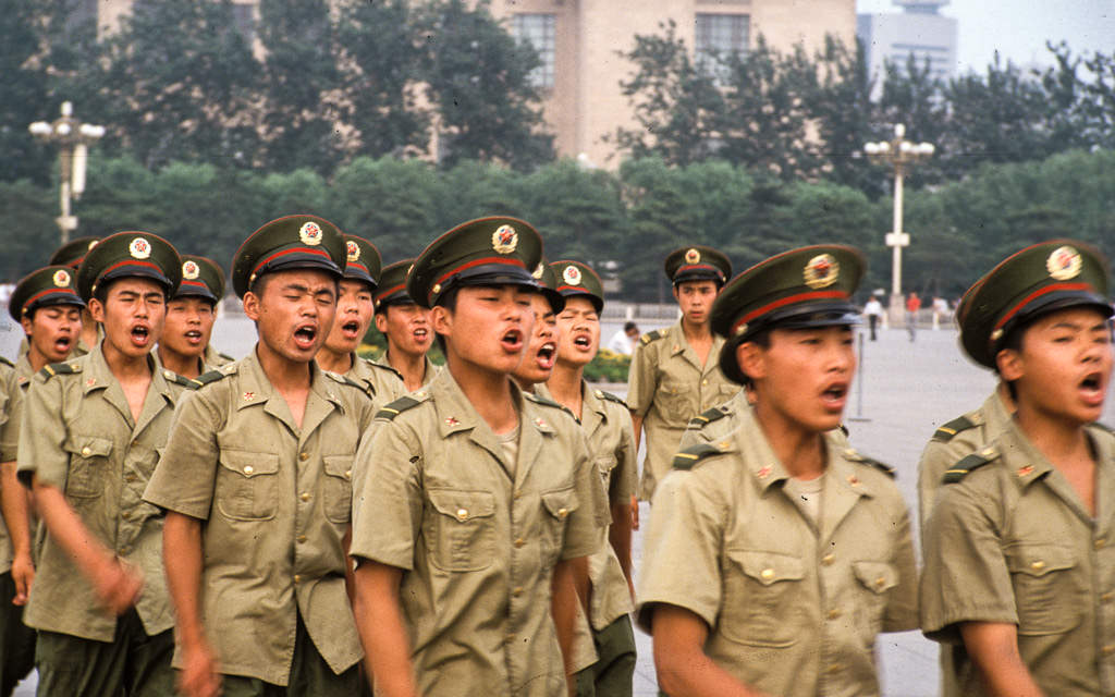 Soldiers march on Tiananmen Square