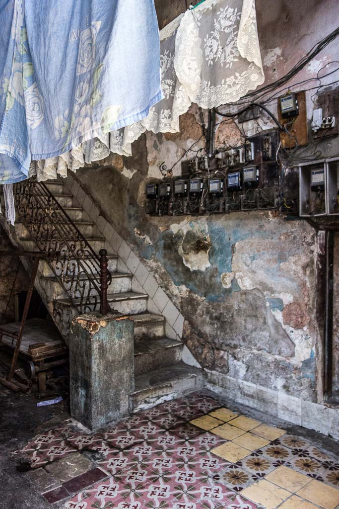 Staircase with fuse boxes Havana Cuba