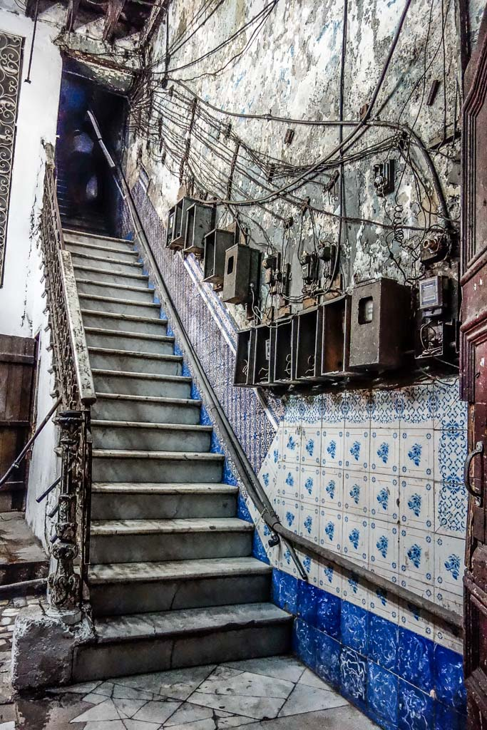 Staircase with electrical boxes Havana Cuba