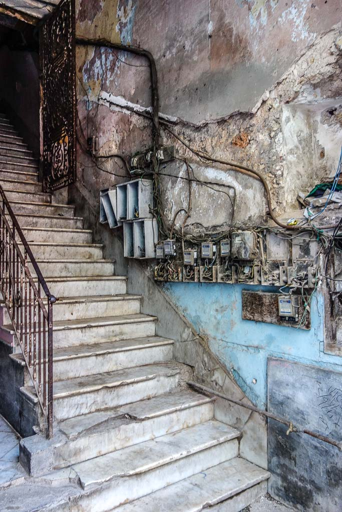 Marble staircase with electrical boxes Havana Cuba