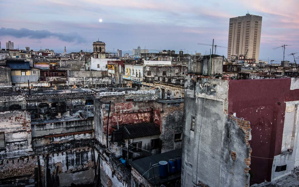 Rooftop in Centro at sunset Havana