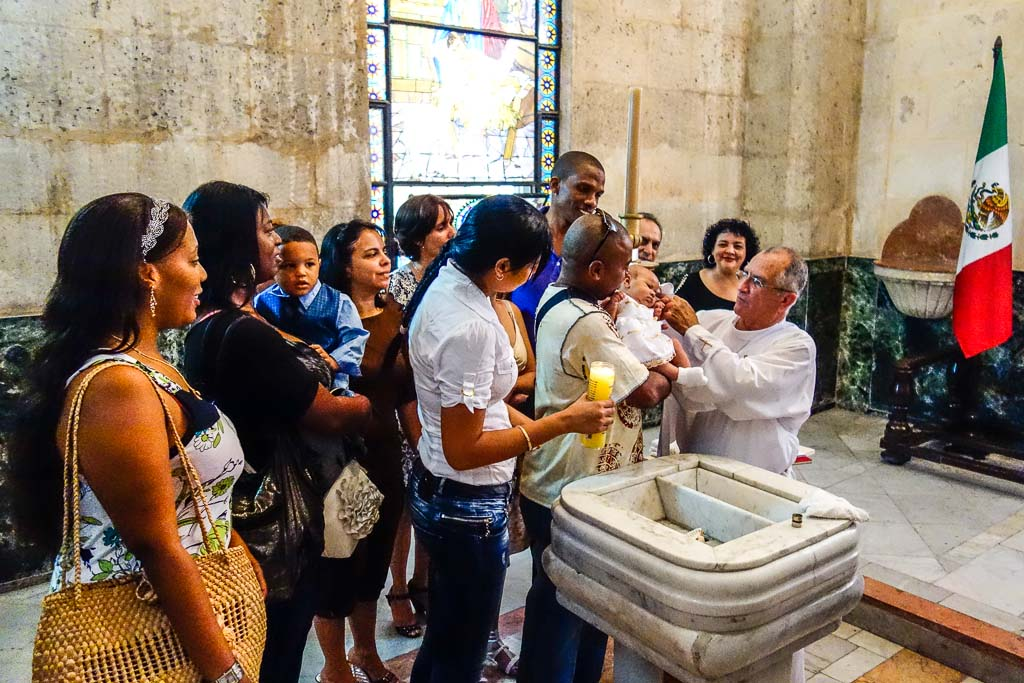 Baptism ceremony in Our Lady of Charity Havana Cuba