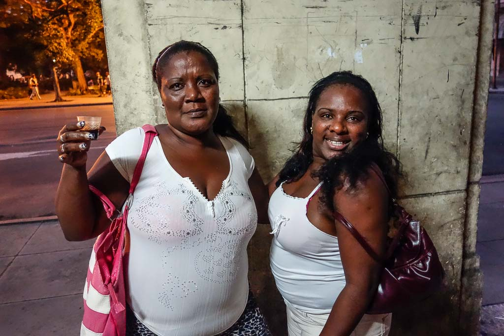 Portrait of two women on street in Havana