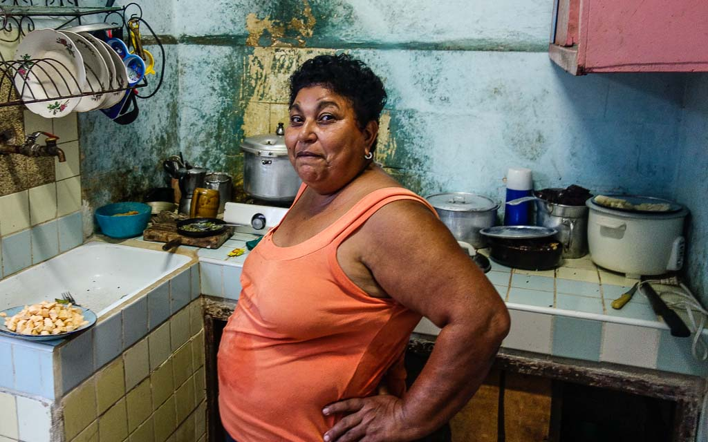 Havana Cuba portrait of mom in kitchen