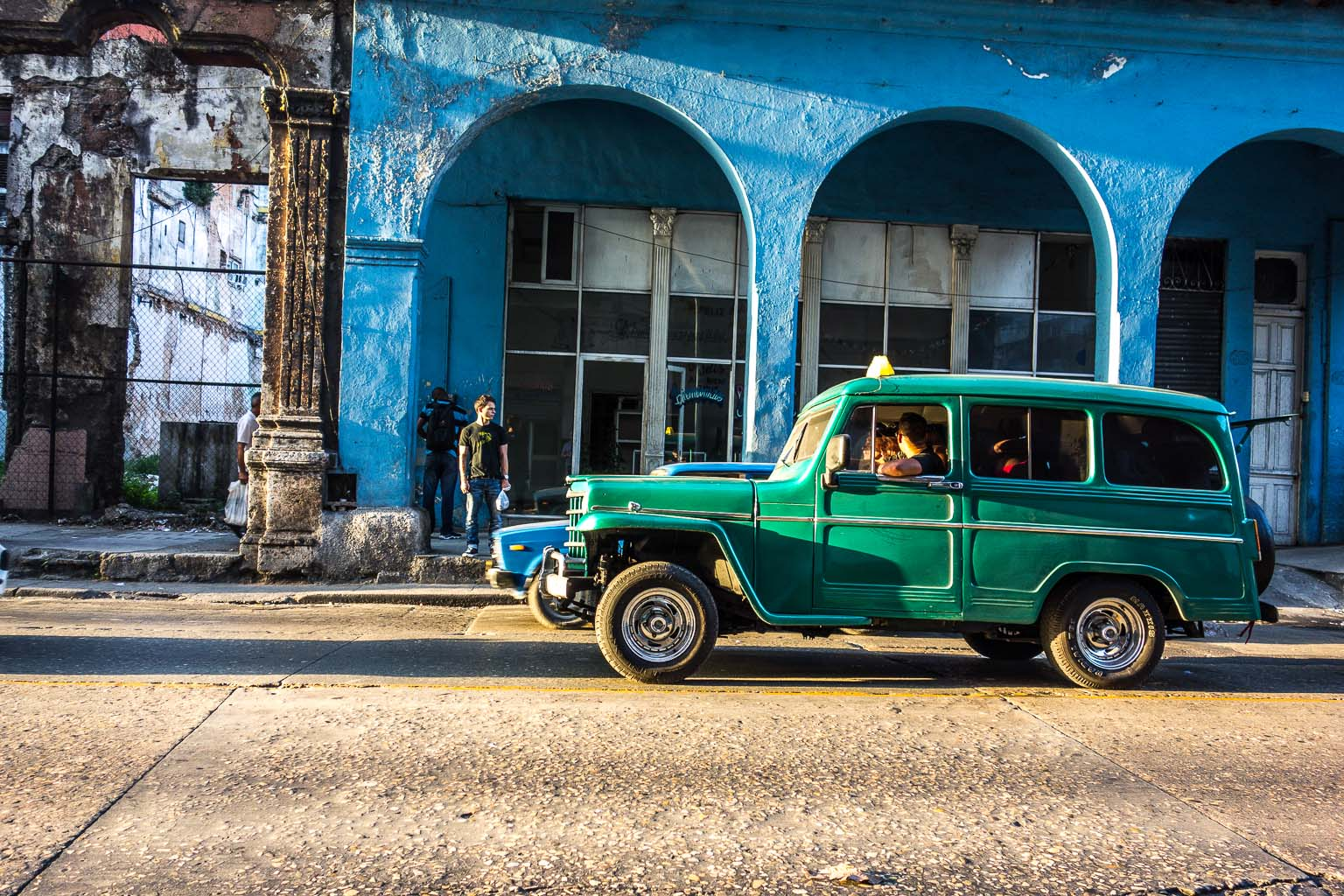 Green jeep on Calle Monte Havana Cuba