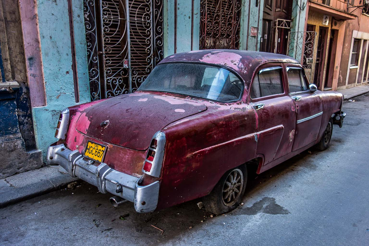 Old  car in side street Havana Cuba