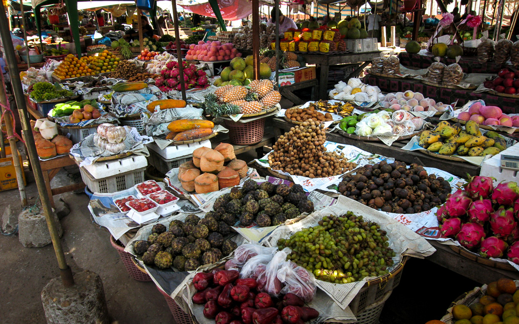 Laotian market vegetables