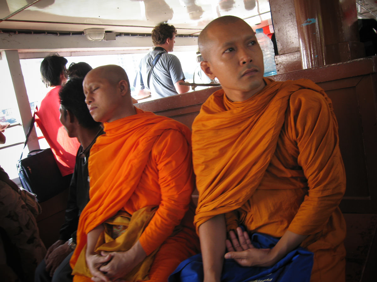 Monks on Chao Praya river taxi