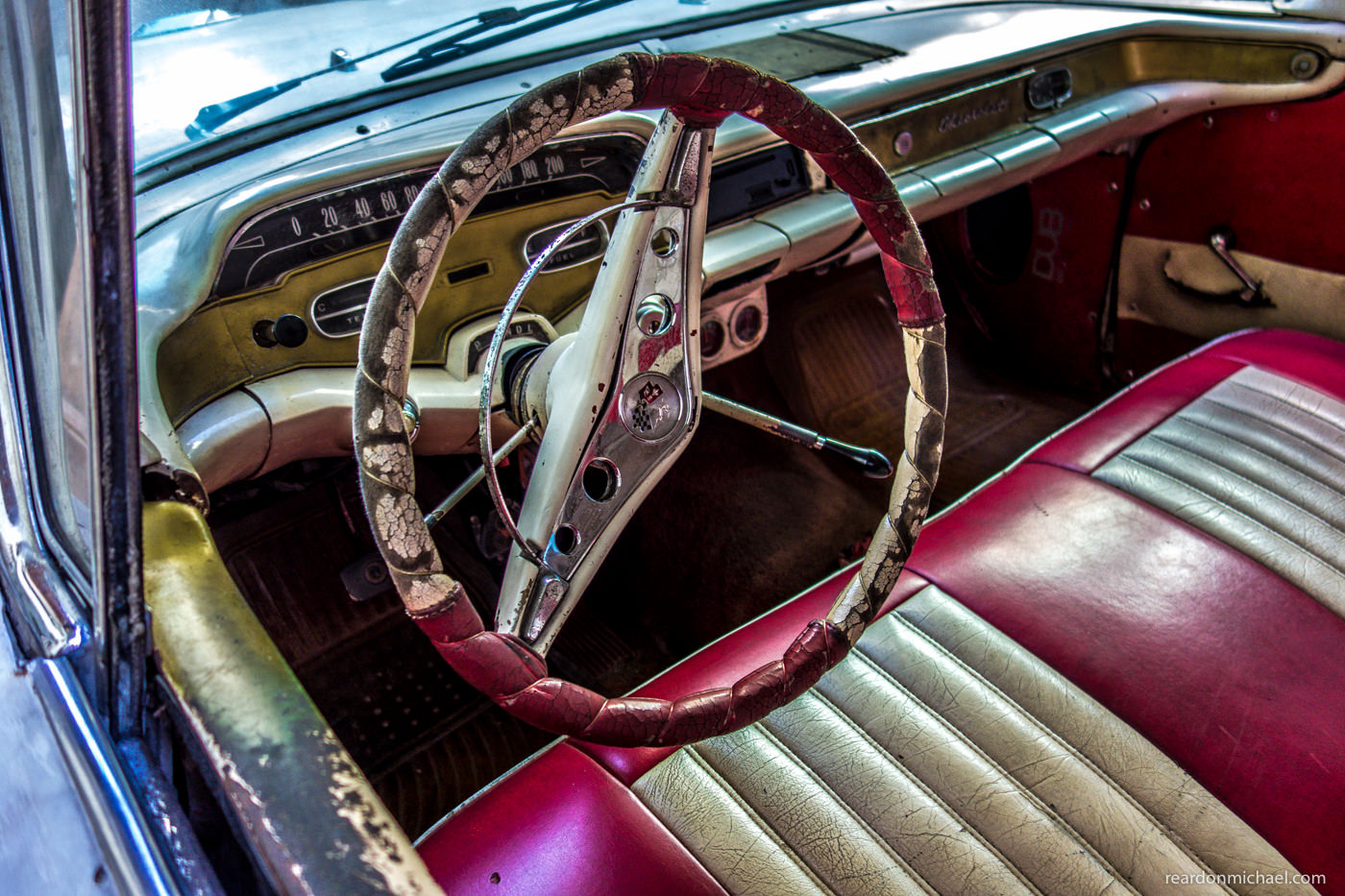 Vintage American car dashboards in Havana, Cuba